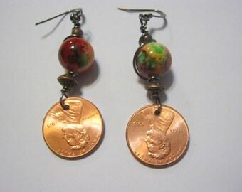 Penny Copper/ Wire/Red/ Boho Belly Dance Earrings