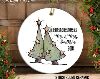 Our First Christmas as Mr & Mrs Christmas Ornament, Mr and Mrs Ornament, Personalized Wedding Gift Bridal Shower Ornament, Newlyweds OCH30