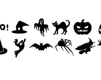 12 Assorted Mini Halloween Decals Car Decals Cell Phone Decals Computer Decals Small vinyl decals Halloween Stickers Halloween Decals