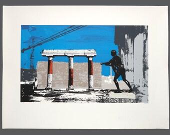 "1984 George H Davis ""Crane in Pompeii"" Silkscreen Serigraph Limited Edition 11/13 AP Vintage Art"