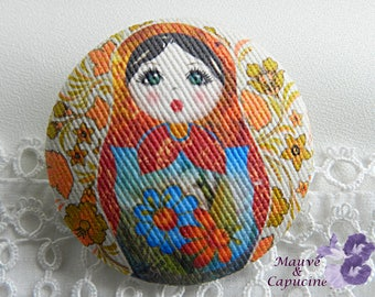 Fabric button, matruschka,, 1.57 in / 40 mm