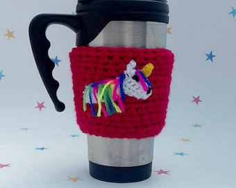 Unicorn Mug Sleeve, Coffee Sleeve, Tea Lover Gift, travel cozy, fantasy tea cosy, unicorn applique, coffee lover, mug sleeve, Unicorn Lover