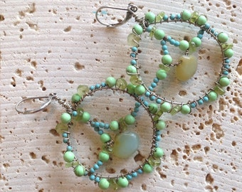 Hoop Peace Sign Earrings-Sterling, Peruvian Opal, Turquoise, Peridot