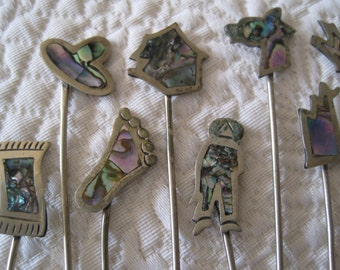 10 Hors d' Oeuvres Forks Appetizer Inlaid Abalone Shell Silver Mexico