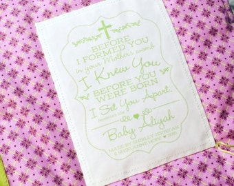 Personalized Baby Quilt Label • Before I Knew You Blanket Patch • Pretty Sew On Quilt Label • Baptismal • Inspirational Message Baby Fabric