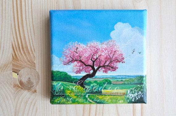 Mini dipinto ad olio con albero di ciliegio in fiore dipinto for Fiori ad olio