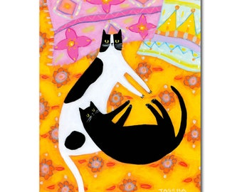 ORIGINAL two cats on an orange bed spread PAINTING black cat and spotted cat folk art painting original cat art by TASCHA boho cats