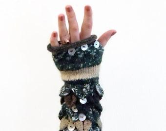 Knit Fingerless gloves in harvest colors, Fngerless glove mittens, Long knit gloves, Boho knit glove mittens, Girl's wool fingerless gloves