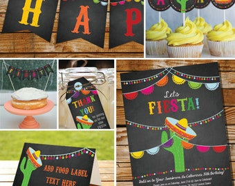 Mexican Fiesta Printable Party Set - Mexican Fiesta Party - Cinco De Mayo - Instant Download and Edit with Adobe Reader