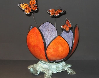 Stylized Gourd Flower with 3 Monarch Butterflies Riding in a Bronze Turtle