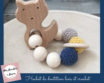 Rattle baby play wooden and crochet cotton - teether - yellow, blue ring, Fox