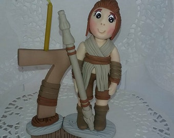 Rey from star wars candle topper