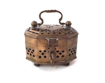Vintage Large Brass Cricket Box - Octagonal Brass Box With Hinged Lid - Ornate Metal Cutouts Solid Brass Box Jewelry Trinket Box Keepsake