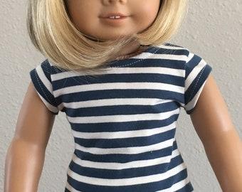 "Nautical Stripe Cap Sleeve-T fits American Girl and 18"" dolls"