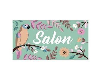 Customizable PASTEL bird door plaque