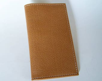 Yellow/Brown Leather Checkbook Cover - Textured Brown Leather Checkbook Holder
