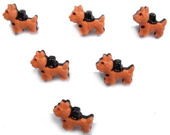 LOT 6 buttons: scottie orange/black 18mm