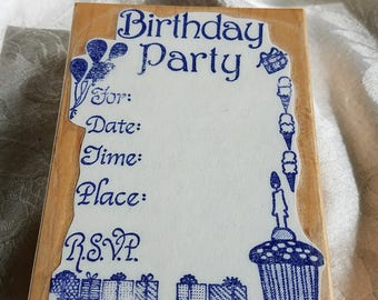 Large Birthday Party Invitation rubber stamp, Invitation Stamp, Cupcake, Gifts, balloons, party stamp, birthday invitation stamp Card