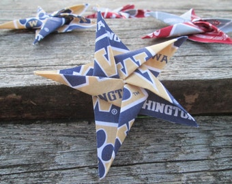 Origami University of Washington Cotton Fabric Star Ornament