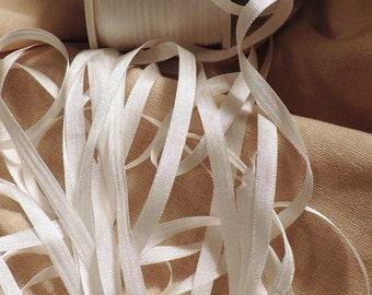 Natural white 4mm silk ribbon 25 yards