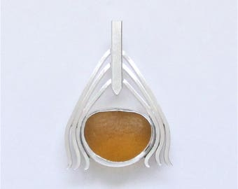 Sea Glass Jewelry - Sterling Golden Amber Sea Glass Pendant