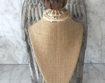 Bust Burlap Jewelry Stand with wings, Display Necklace stand,crown,lamp parts,lamp base,jewelry holder,vintage lamp parts,