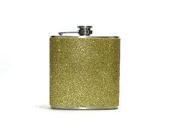 Gold Sparkly Glitter 6 oz Size Stainless Steel Liquor Hip Flask Flasks Weddings Bridesmaids