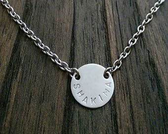 Personalised Hand Stamped Circle 15mm Disc Necklace Pendant Stainless Steel.