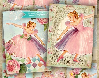 Ballerina - tags - digital collage sheet - set of 8 - Printable Download