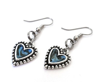 Blue Heart Earrings, Love Gift for Her, Slate Blue Jewelry, Great Mothers Day Gift Idea