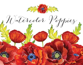 Watercolor Poppies Clipart: Instant download wedding bridal invitation clipart