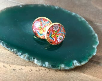 Stud earrings , exotic earrings , oriental earrings