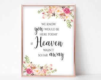 We Know You Would Be Here Today If Heaven Wasn't So Far Away Wedding Memorial Sign for Wedding Instant Download 4x6, 5x7, 8x10 Pastel Blooms