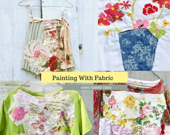 Floral Collage, Patchwork Flowers, Sewing Classes, Upcycled Sewing, Refashion, Learn To Sew, Sew, Online Class, Boho, Tutorials, Patterns