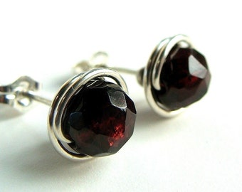Red Garnet Studs 7mm Faceted Post Earrings Wire Wrapped in Sterling Silver Stud Earrings Garnet Birthstone Earrings