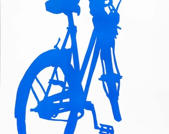 Bicycle Art Print - Alice's Bike in Blue