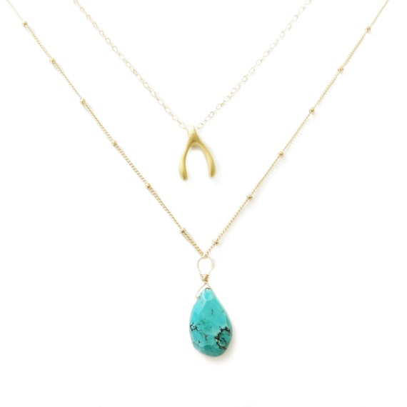 Good Luck Layer Necklace with Gold Wishbone and Turquoise Pendant