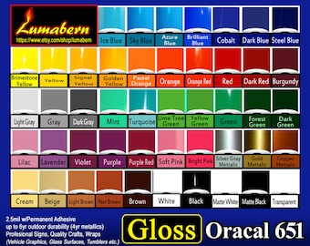 """16 rolls 12"""" Oracal 651 High Gloss adhesive backed vinyl professional sign/craft Outdoor Quality - use with stamp/die cut, Cutters"""