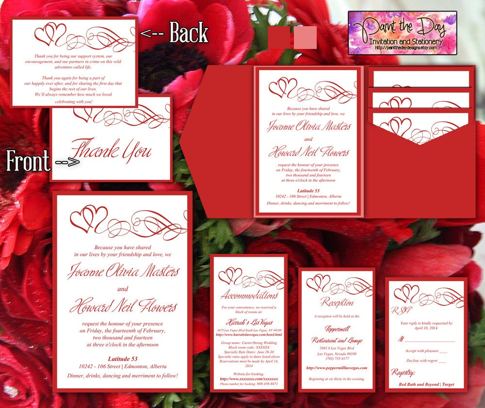 Double Heart Swirls 5x7 Wedding Pocketfold Microsoft Word