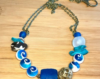 Blue and White Shell and Africa Trade Bead Mixed Media Chain Necklace