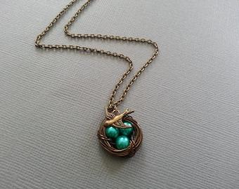 New Green Bird's Nest Necklace Antique Brass