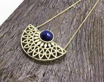 Boho brass necklace, Lapis Lazuli necklace, Half Moon gold Necklace, Brass Necklace, Statement Necklace, Geometry Necklace, Boho Necklace