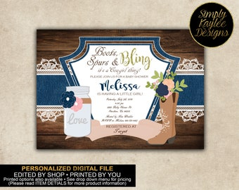 Denim and Lace Cowgirl Baby Shower Invitation