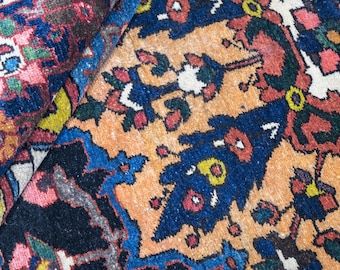 Vintage Hand Knotted Navy Blue Persian Area Rug 5× 7