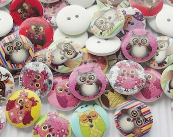 8 wooden buttons painted pattern owls