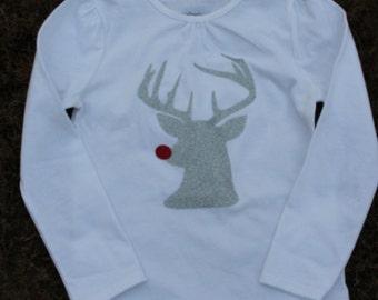 Glitter Rudolph Shirt; Toddler Glitter Reindeer Shirt; Rudolph; Children Christmas Shirt
