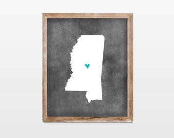 Mississippi Chalkboard State Map 8x10 Art Print. Personalized Chalkboard Home Art Print. Mississippi College Map. Graduation Gift School Map