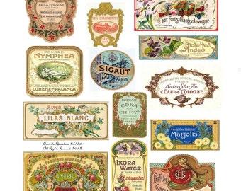 Vintage French Perfume Labels - Vintage Perfume Labels - French Labels - Digital Collage Sheet - 1150 - Instant Download - Soap Labels