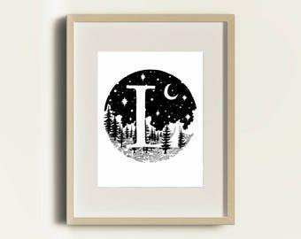 Forest L Monogram 8x10 downloadable print