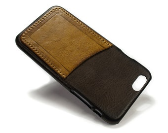 """iPhone 6 4.7"""" leather credit card case 1 slot vertical choose colour of BODY and ACCENT"""